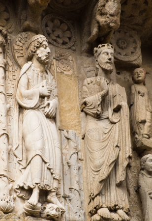 Romanesque statues in Platerias Door in Compostela cathedral