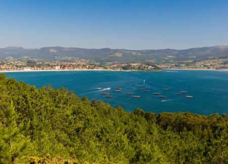 Mussel barges in Ria de Vigo near to Nigran in Galicia