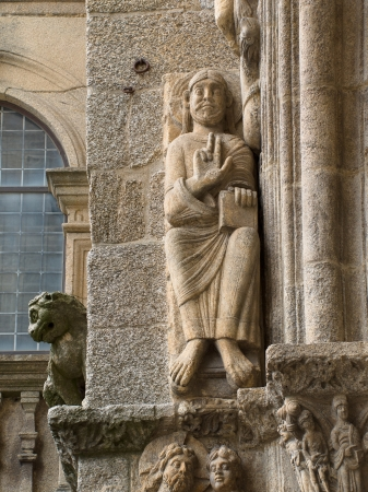 Romanesque Adam and Eve in Platerias facade in Saint James Compostela Cathedral
