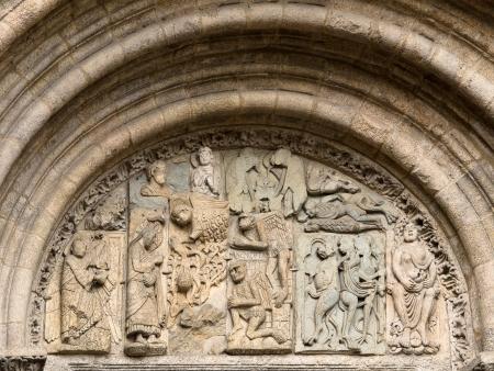 Romanesque Tympanum in Platerias facade Compostela Cathedral Stock Photo