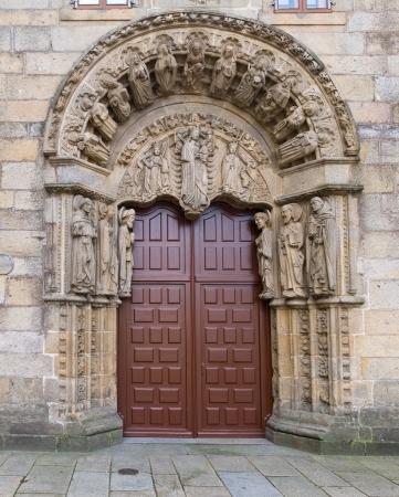 galicia: Romanesque facade of San Xerome college in Compostela