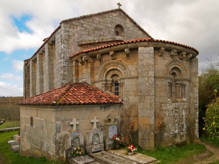 Romanesque church of Astureses in Galicia Stock Photo