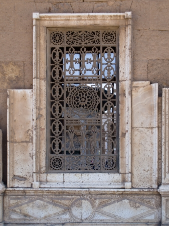 Window in the Mosque of Muhammad Ali Pasha or Alabasterd Mosque, Cairo in Egypt