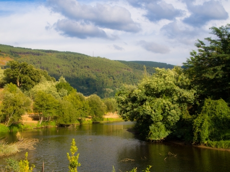 galicia: Arnoia river mouth in Minho river Stock Photo
