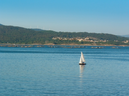 galicia: Mussels and sailboat in Muros e Noia ria