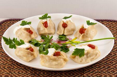 Uzbek dish of manti 写真素材