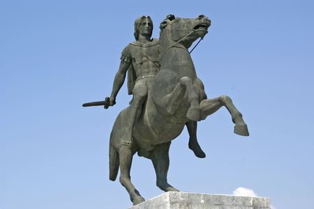thessaloniki: The statue of Alexander the Great in Thessaloniki sea front.