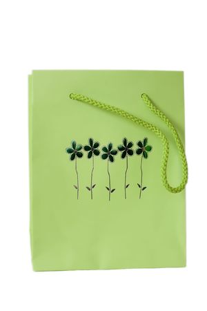 dearest: Green Present Bag Stock Photo