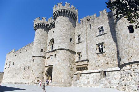 rhodes: Knights castle at Rhodos Island, Greece Stock Photo