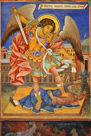 michael the archangel: Archangel Michael Fresco from Rila Monastery, Bulgaria