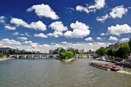 cite: Seine River, Pount Neuf and Cite Island in Paris Stock Photo