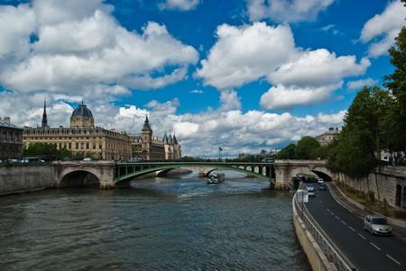 Conciergerie and Pont Neuf on Seine River, Paris, France