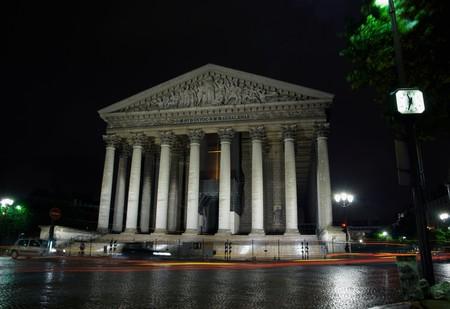 madeleine: Cathedral Madeleine by night, Paris, France Stock Photo