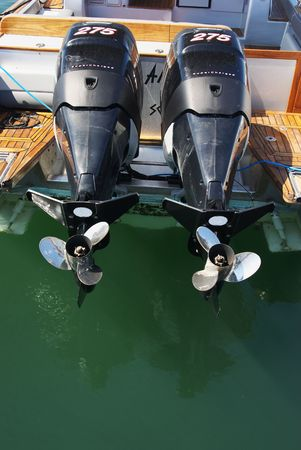 Two motor boat engines
