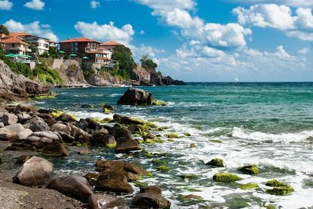 Sozopol strand en oude stadje aan de Zwarte Zee, Bulgarije Stockfoto
