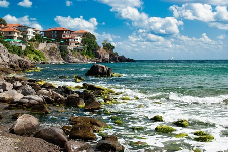 Sozopol Strand und der Altstadt am Schwarzen Meer, Bulgarien