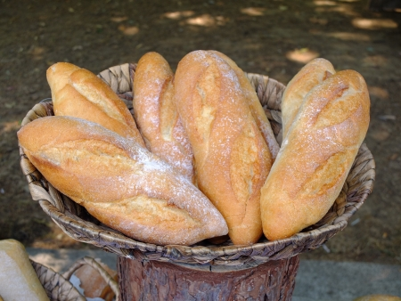 Fresh French bread in a basket