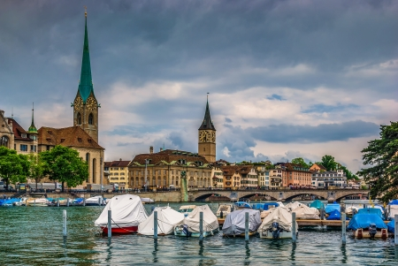 Fraumuenster Cathedral and St Peter Church in Zurich