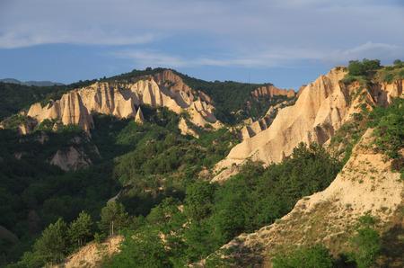 Sand pyramids around town of Melnik, Bulgaria.