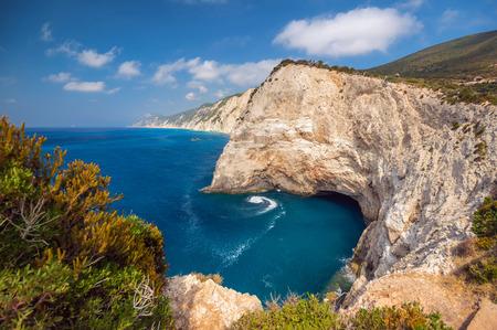 Beautiful view of Lefkada's island. The other side of Porto Katsiki beach, west coast of Lefkada, Ionian Islands, Greece