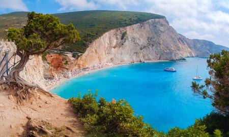 Beautiful view of Lefkadas island. Porto Katsiki beach, west coast of Lefkada, Ionian Islands, Greece
