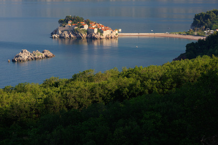Sveti Stefan island near city of Budva, Montenegro on Adriatic coast