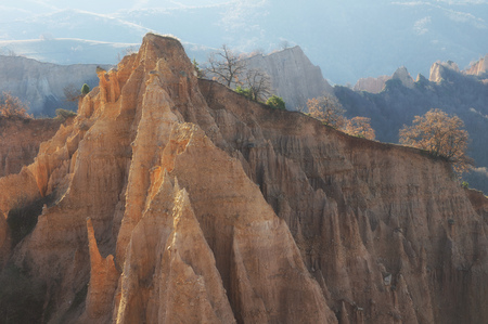 A unique pyramid shaped mountains cliffs in Bulgaria, near Melnik town.