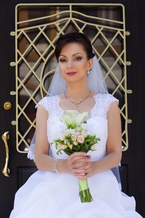 adult woman: Stylish bride, wedding, wedding dress, a rich bride Stock Photo