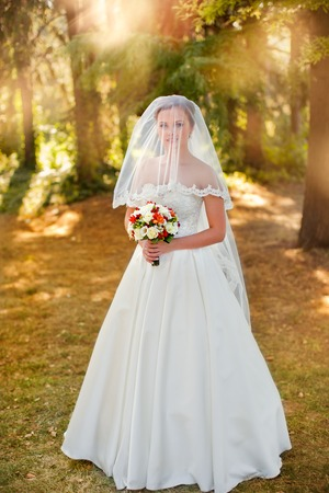 bride veil: The bride in a white dress on a sunny day