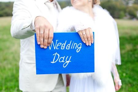 inscribed: Hands newlyweds, wedding plaque inscribed with names