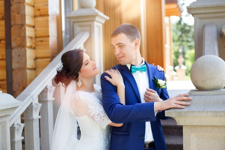 gently: The bride groom gently hugged for a walk Stock Photo