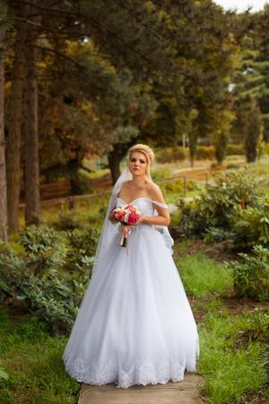 Novia Elegante En Un Vestido De Novia Blanco En Día De Verano Fotos ...
