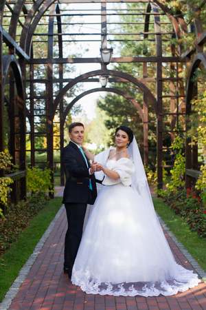 The groom tenderly embraced the happy bride in the summer park Standard-Bild