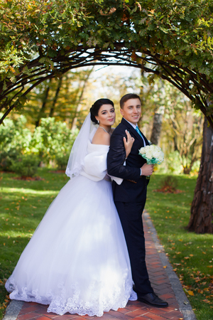 The bride tenderly embraced the groom standing under the green arch Banque d'images