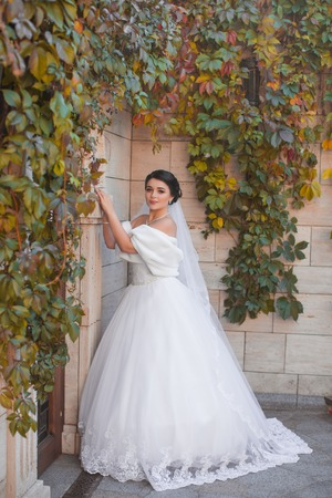 Stylish bride stands by the brick wall, posing on the photo