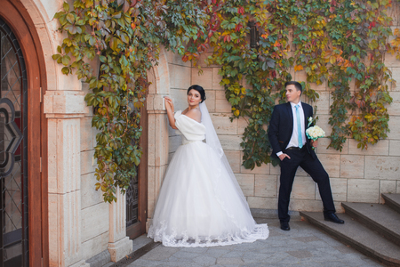 Stylish newlyweds posing on a photo shoot against the backdrop of a brick wall