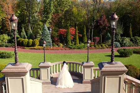 Happy bride in a rich wedding dress in a summer park Standard-Bild