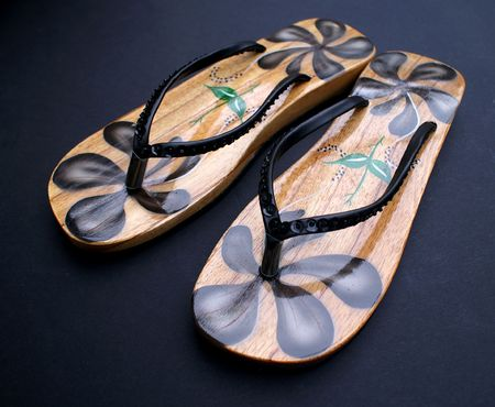 Painted Wooden Sandals