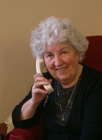 Gran on telephone Stock Photo