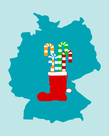 Christmas boot filled with licorice Vector
