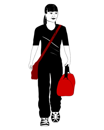 Travelling woman Vector
