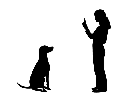 pointer dog: Dog training (obedience): command: sit Illustration
