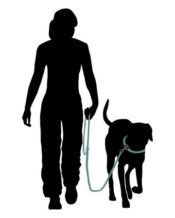 dog on leash: Formaci�n perro (obediencia): Comando: Ir a la correa! Vectores