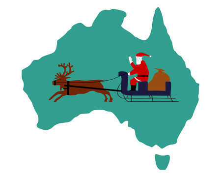 Santa Claus riding on his reindeer sleigh high above the australian continent