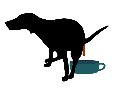Well trained dog using the toilet for dogs Vector