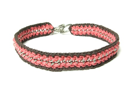 dog salmon: Hand worked crocheted dog collar out of a chain of metal