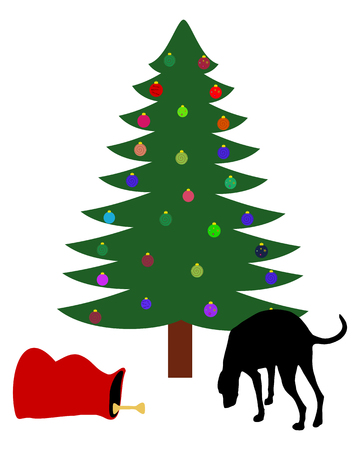 snooping: Dog finds a chirstmas bone below the christmas tree