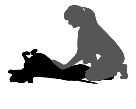 Woman caresses a dog Vector