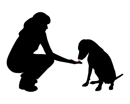 woman eat: Dog training (obedience): command:don´t eat, wait Illustration