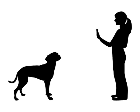stop hand silhouette: Dog training (obedience): command stop